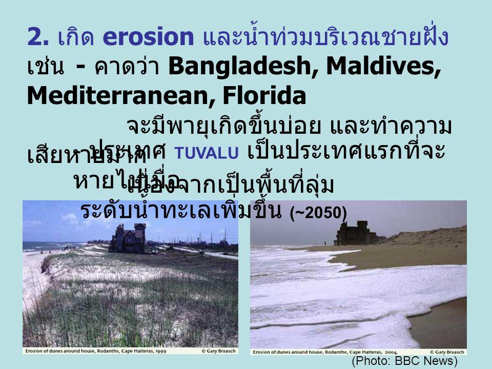 2. เกิด erosion และน้ำท่วมบริเวณชายฝั่ง