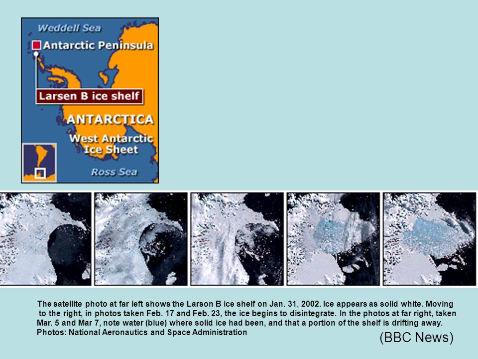 The satellite photo at far left shows the Larson B ice shelf on Jan