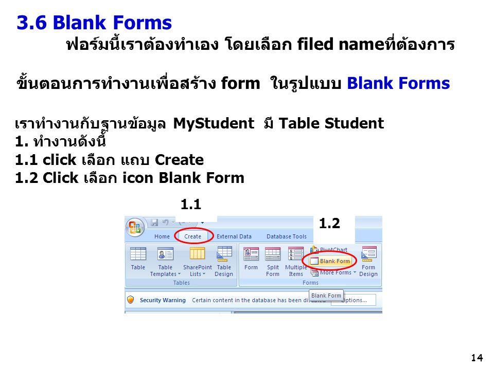 3.6 Blank Forms ฟอร์มนี้เราต้องทำเอง โดยเลือก filed nameที่ต้องการ