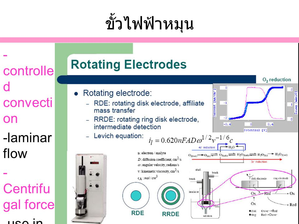 ขั้วไฟฟ้าหมุน -controlled convection -laminar flow - Centrifugal force