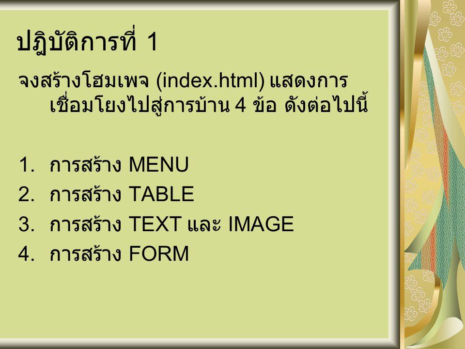 ปฎิบัติการที่ 1 จงสร้างโฮมเพจ (index.html) แสดงการเชื่อมโยงไปสู่การบ้าน 4 ข้อ ดังต่อไปนี้ การสร้าง MENU.