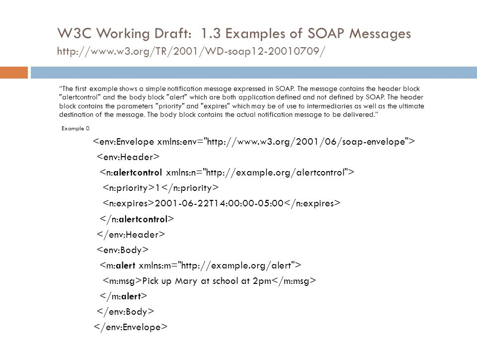 W3C Working Draft: 1. 3 Examples of SOAP Messages http://www. w3