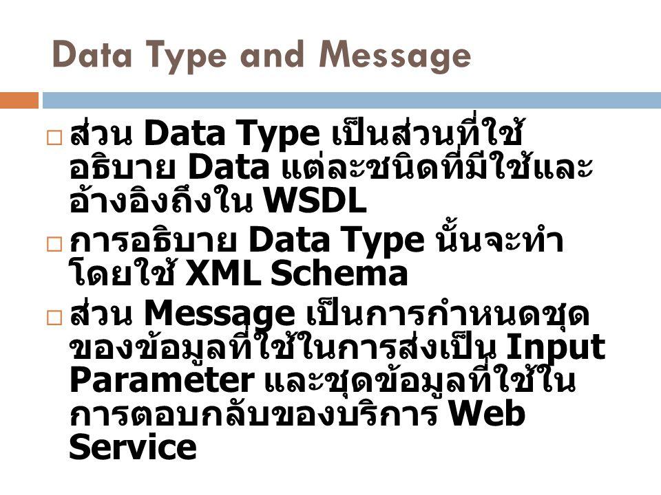Data Type and Message ส่วน Data Type เป็นส่วนที่ใช้อธิบาย Data แต่ละ ชนิดที่มีใช้และอ้างอิงถึงใน WSDL.