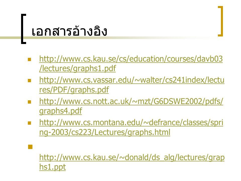 เอกสารอ้างอิง http://www.cs.kau.se/~donald/ds_alg/lectures/graphs1.ppt