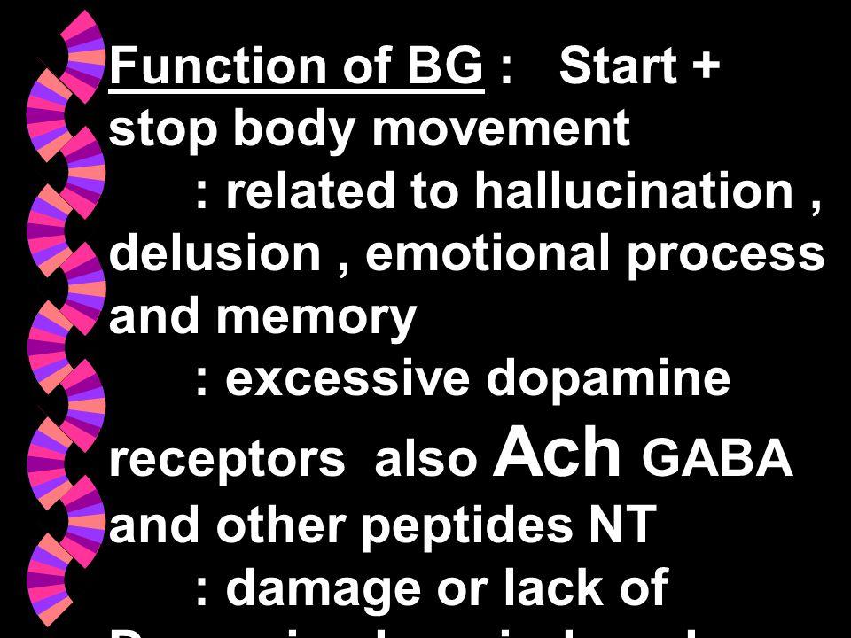 Function of BG : Start + stop body movement