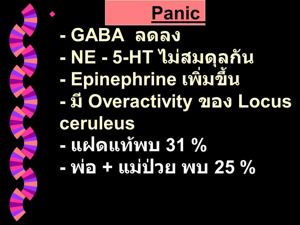 Panic Disorder : - GABA ลดลง - NE - 5-HT ไม่สมดุลกัน - Epinephrine เพิ่มขึ้น - มี Overactivity ของ Locus ceruleus - แฝดแท้พบ 31 % - พ่อ + แม่ป่วย พบ 25 %