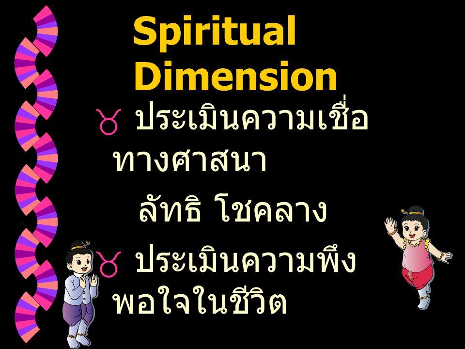 Spiritual Dimension ประเมินความเชื่อทางศาสนา ลัทธิ โชคลาง