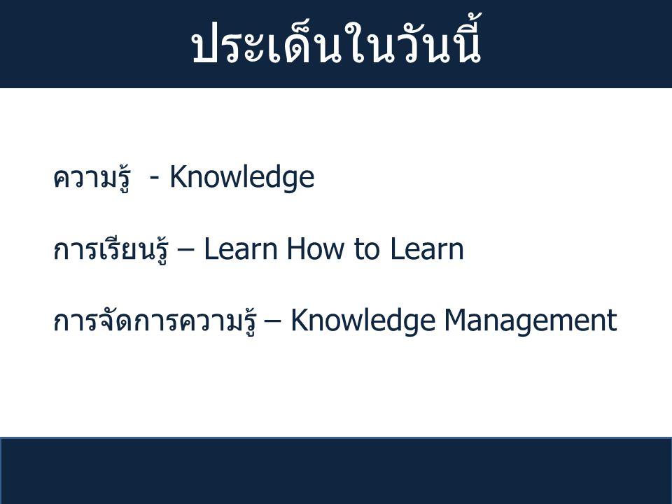 ประเด็นในวันนี้ ความรู้ - Knowledge การเรียนรู้ – Learn How to Learn
