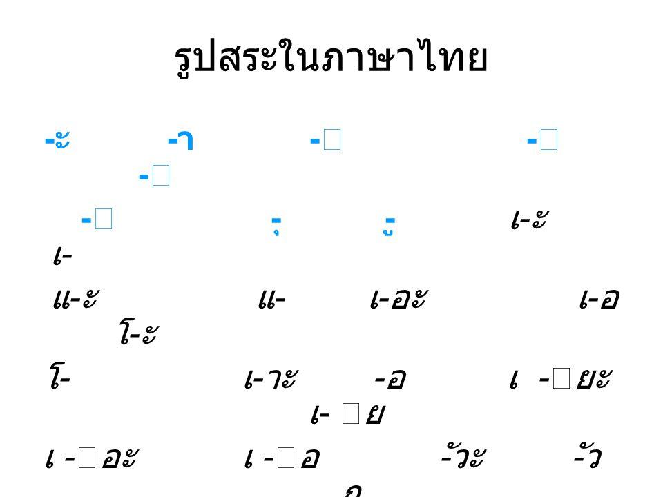 รูปสระในภาษาไทย -ะ -า - - - - -ุ -ู เ-ะ เ- แ-ะ แ- เ-อะ เ-อ โ-ะ