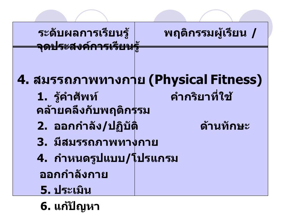 4. สมรรถภาพทางกาย (Physical Fitness)