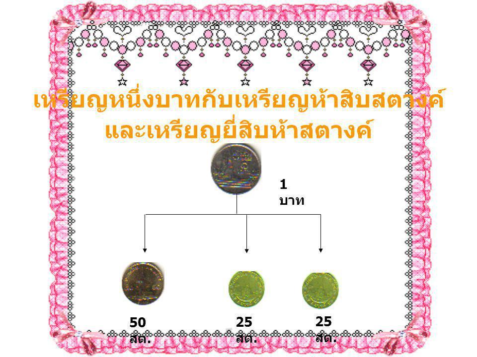 เหรียญหนึ่งบาทกับเหรียญห้าสิบสตางค์ และเหรียญยี่สิบห้าสตางค์