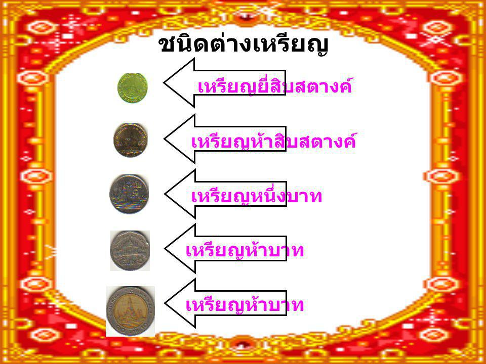 ชนิดต่างเหรียญ เหรียญยี่สิบสตางค์ เหรียญห้าสิบสตางค์ เหรียญหนึ่งบาท