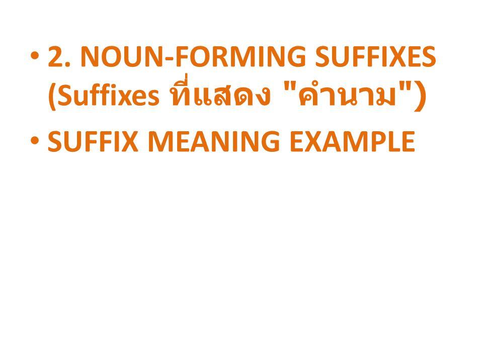 2. NOUN-FORMING SUFFIXES (Suffixes ที่แสดง คำนาม )