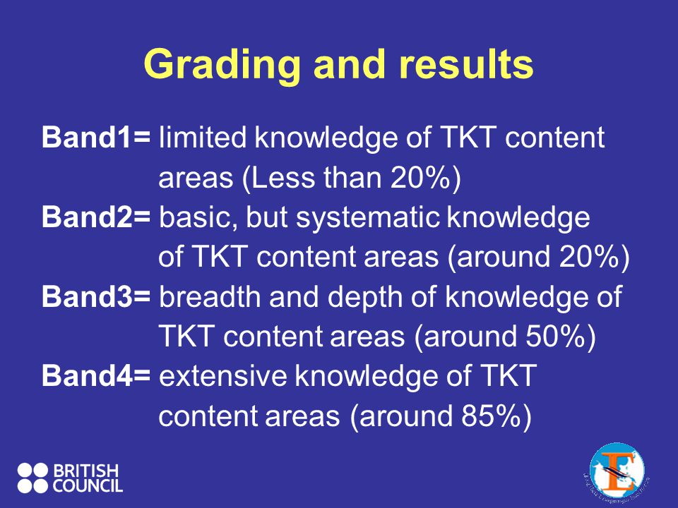 Grading and results Band1= limited knowledge of TKT content