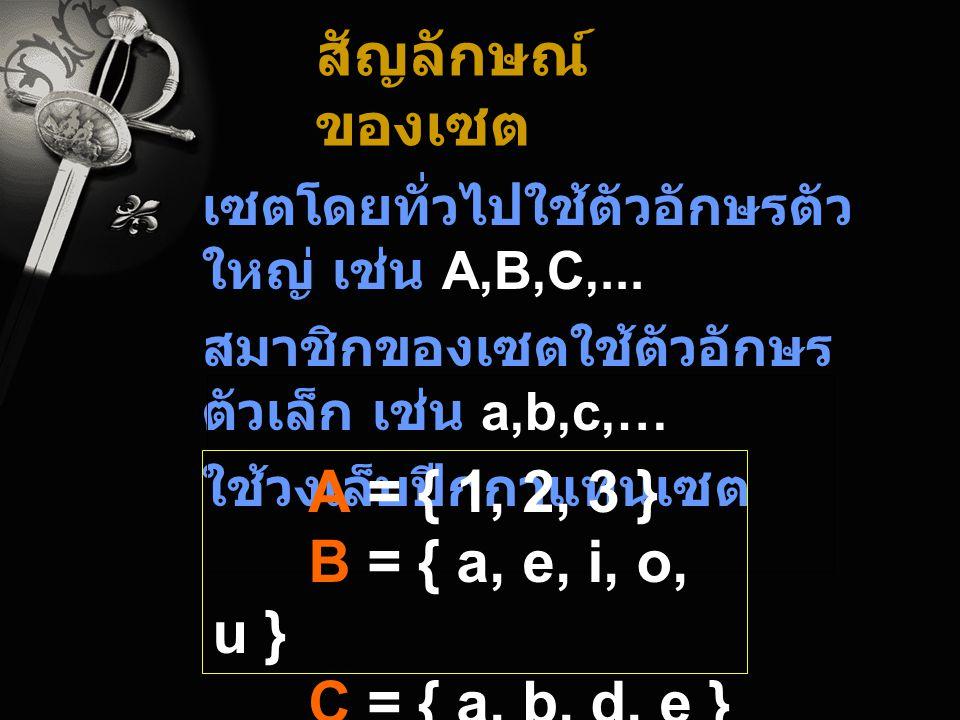 สัญลักษณ์ของเซต A = { 1, 2, 3 } B = { a, e, i, o, u }