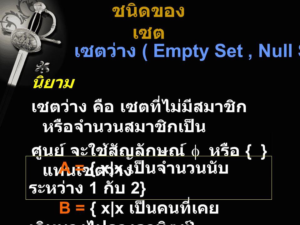 เซตว่าง ( Empty Set , Null Set )