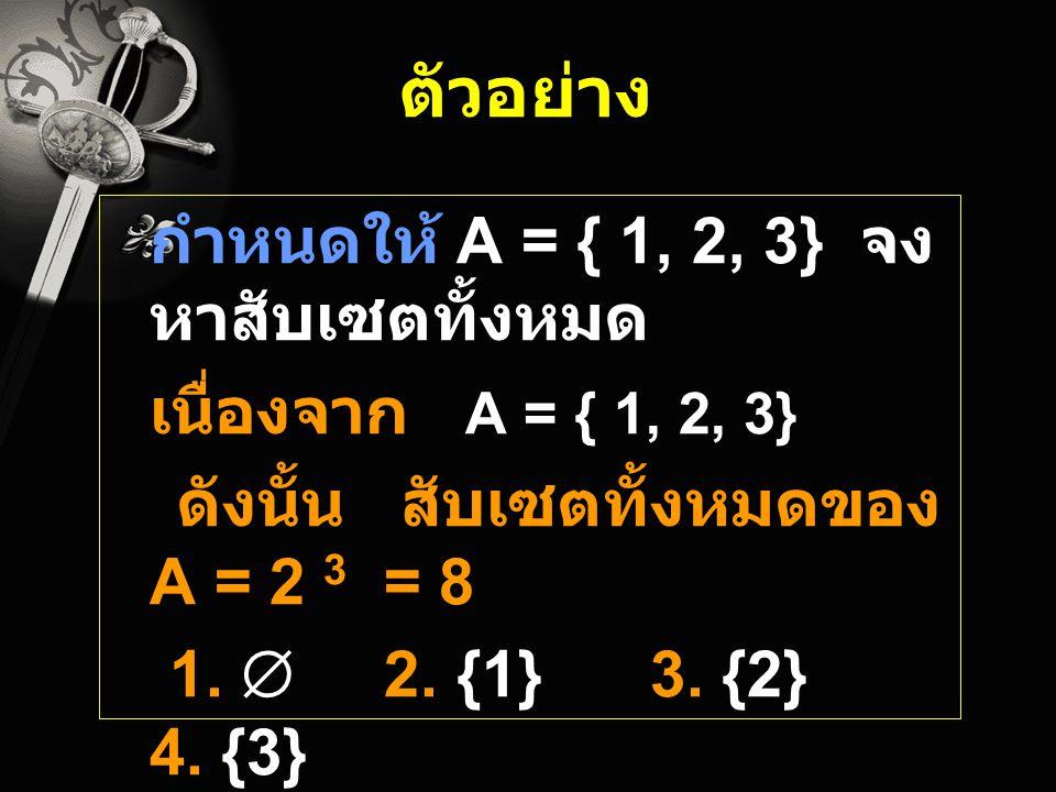 ตัวอย่าง กำหนดให้ A = { 1, 2, 3} จงหาสับเซตทั้งหมด