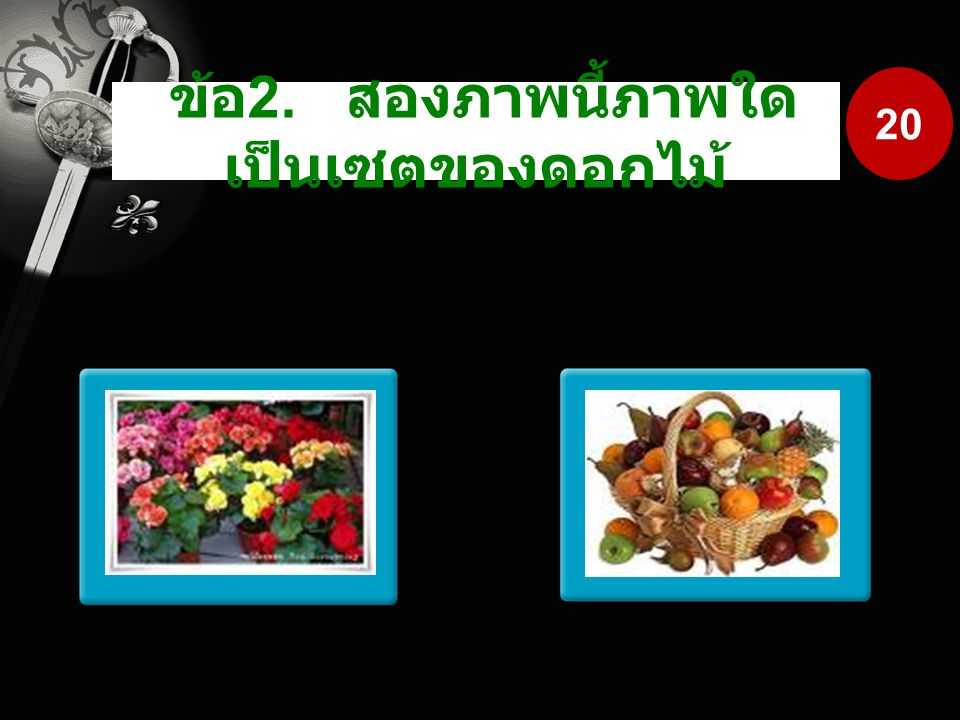ข้อ2. สองภาพนี้ภาพใดเป็นเซตของดอกไม้
