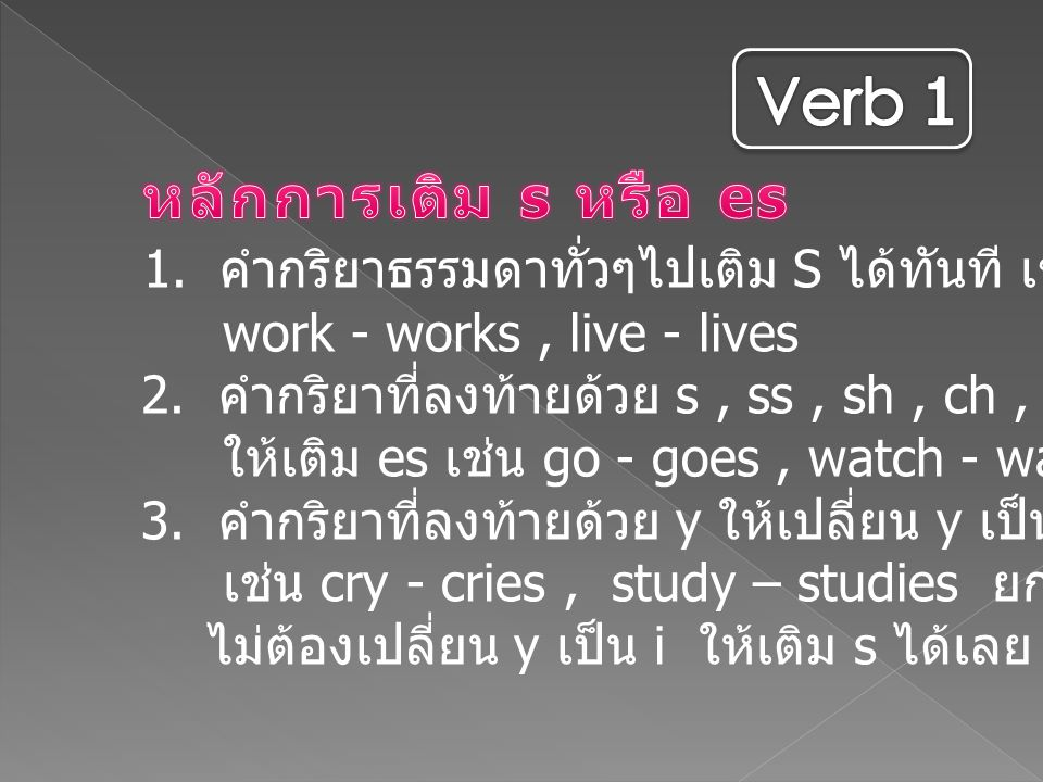Verb 1 หลักการเติม s หรือ es