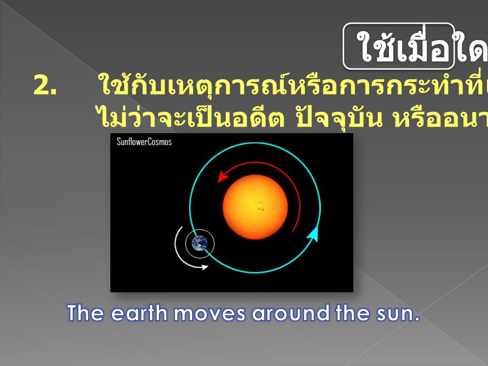 The earth moves around the sun.