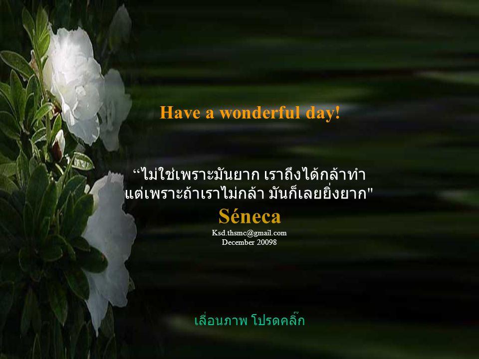 Séneca Have a wonderful day! ไม่ใช่เพราะมันยาก เราถึงได้กล้าทำ