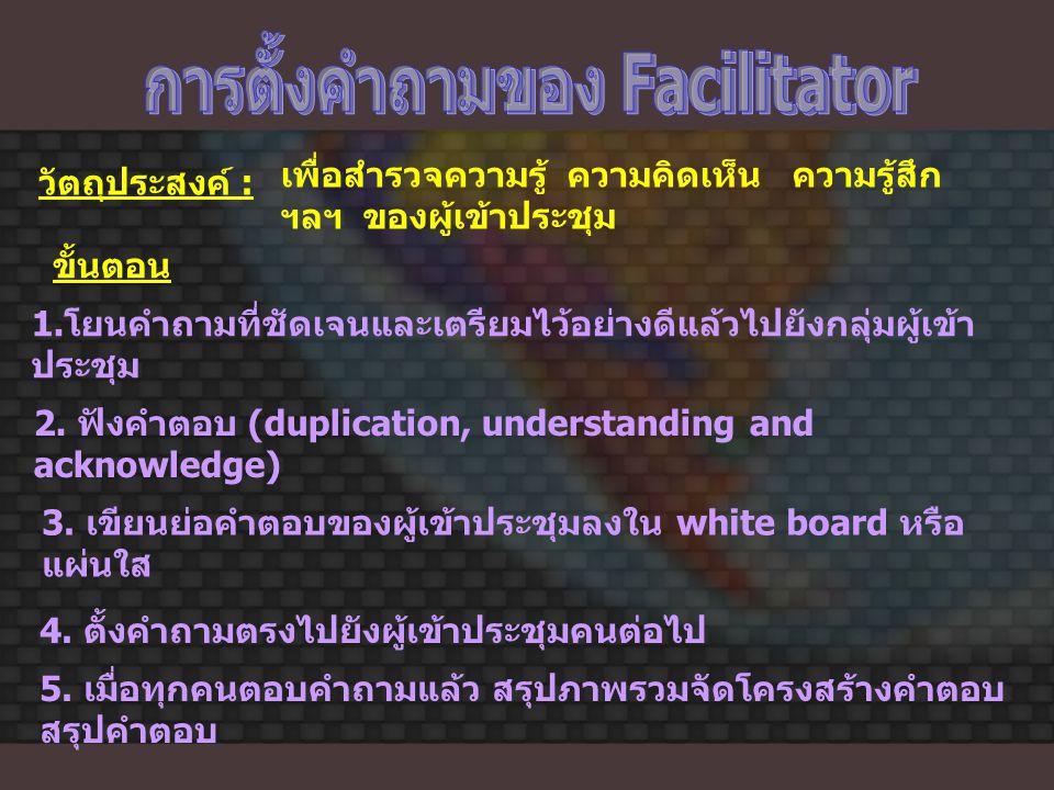 การตั้งคำถามของ Facilitator