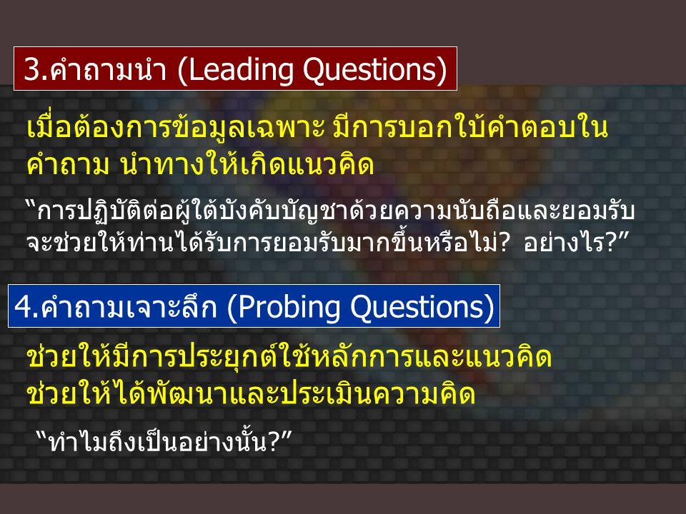 3.คำถามนำ (Leading Questions)