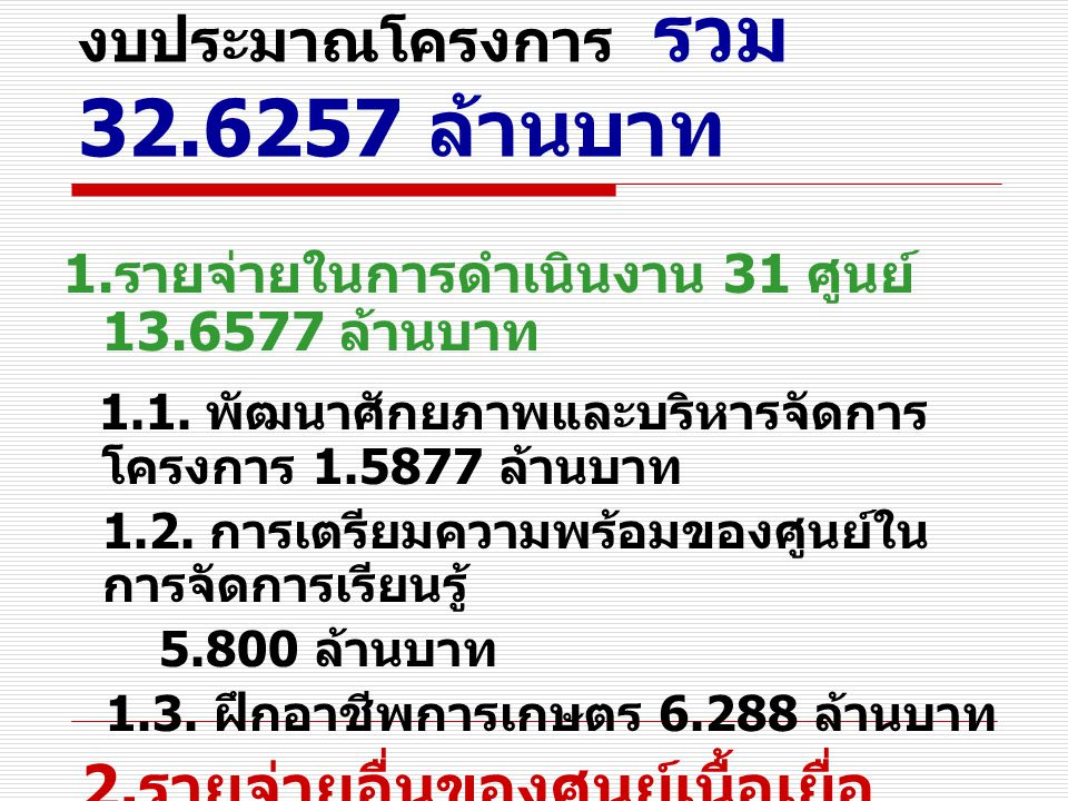 งบประมาณโครงการ รวม 32.6257 ล้านบาท