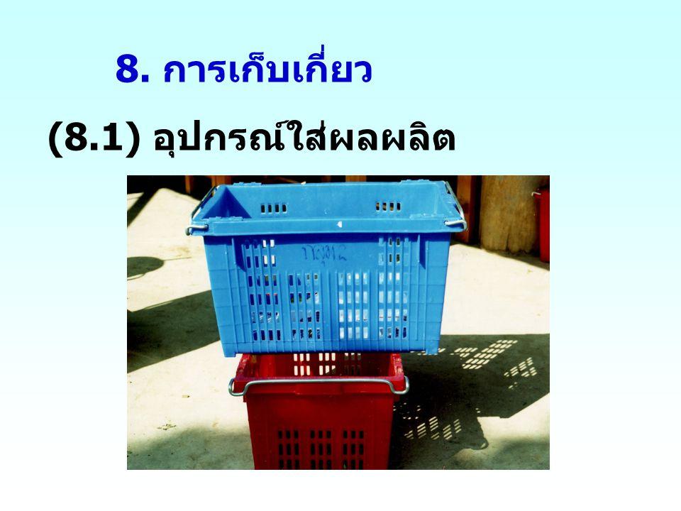 8. การเก็บเกี่ยว (8.1) อุปกรณ์ใส่ผลผลิต