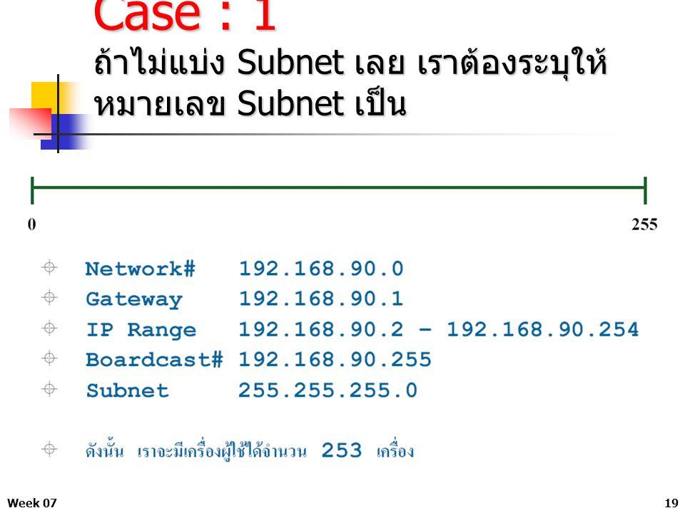 Case : 1 ถ้าไม่แบ่ง Subnet เลย เราต้องระบุให้หมายเลข Subnet เป็น