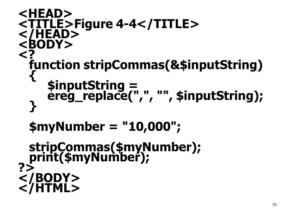 <HEAD> <TITLE>Figure 4-4</TITLE> </HEAD> <BODY> < function stripCommas(&$inputString) { $inputString =