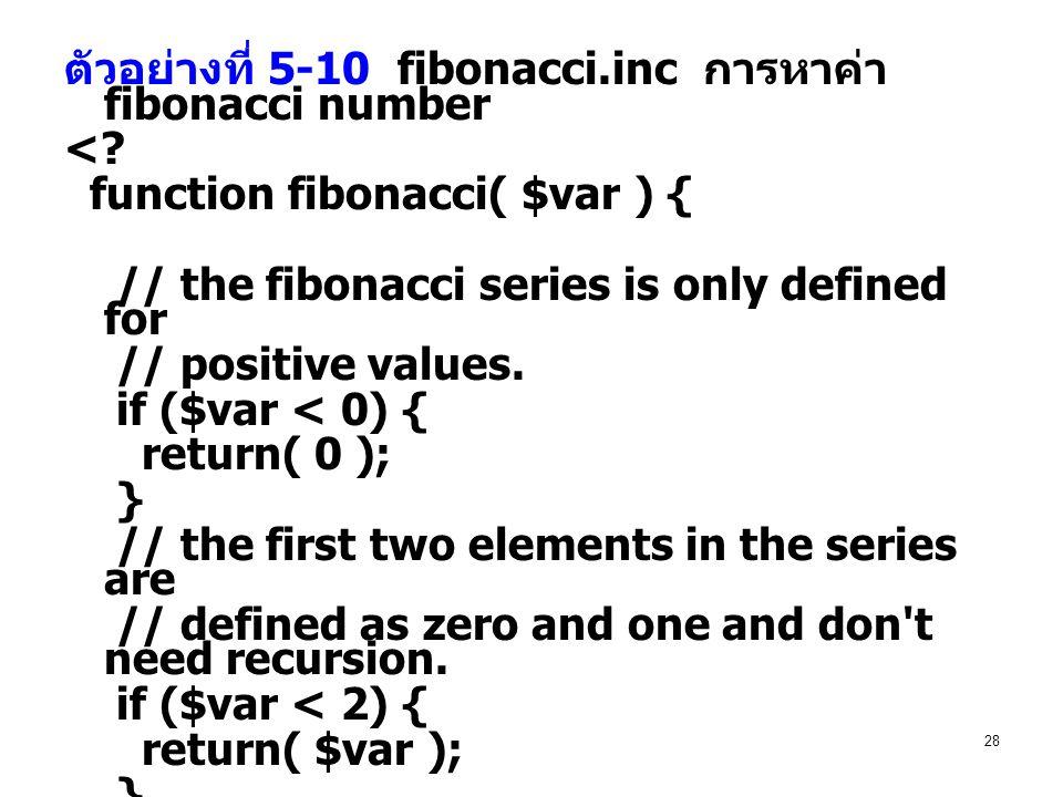 ตัวอย่างที่ 5-10 fibonacci.inc การหาค่า fibonacci number
