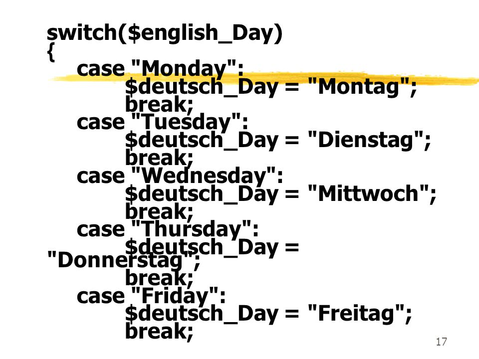 switch($english_Day)
