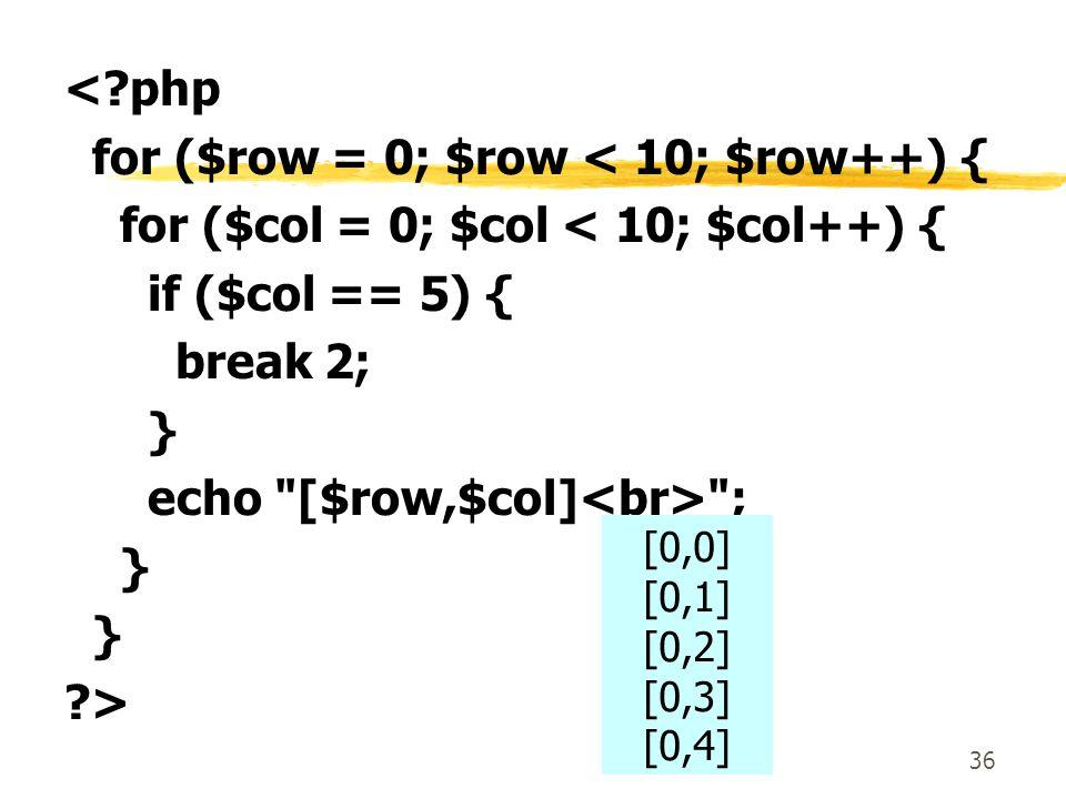 for ($row = 0; $row < 10; $row++) {