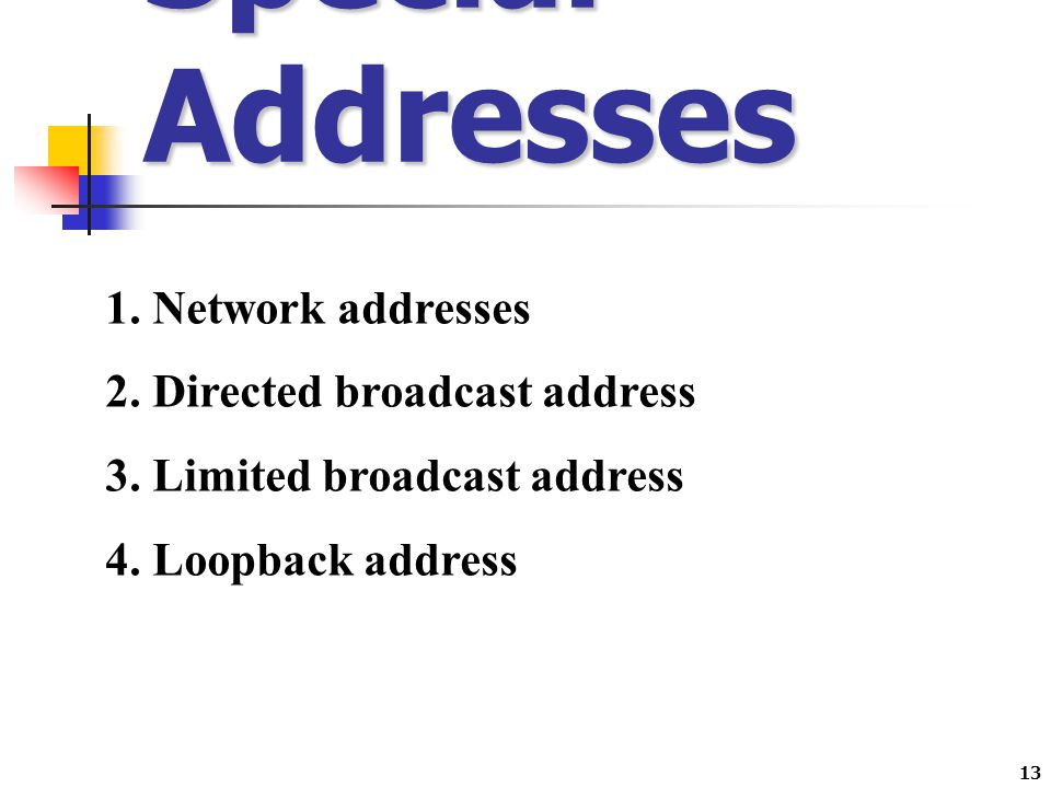 Special Addresses Network addresses Directed broadcast address