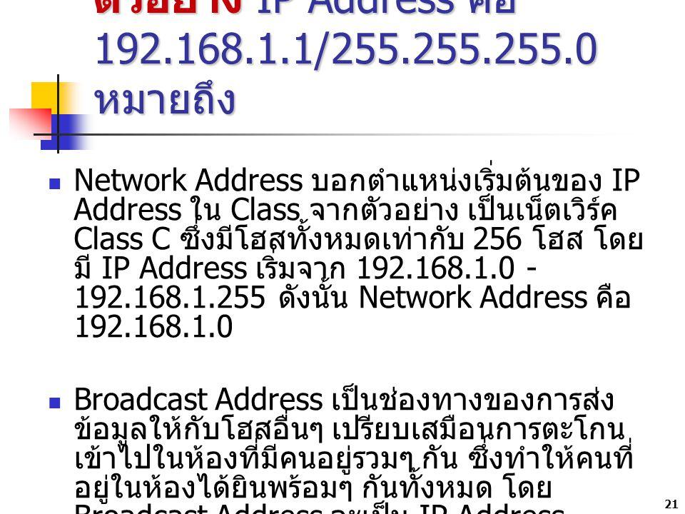 ตัวอย่าง IP Address คือ 192.168.1.1/255.255.255.0 หมายถึง
