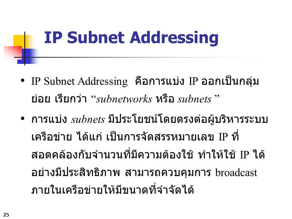 IP Subnet Addressing IP Subnet Addressing คือการแบ่ง IP ออกเป็นกลุ่มย่อย เรียกว่า subnetworks หรือ subnets