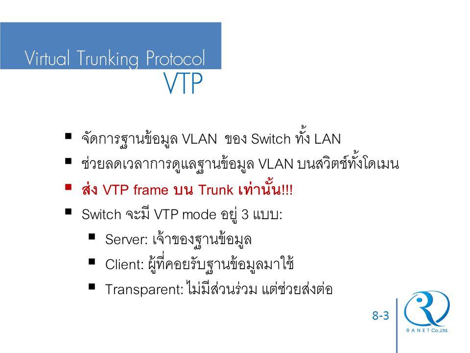 จัดการฐานข้อมูล VLAN ของ Switch ทั้ง LAN