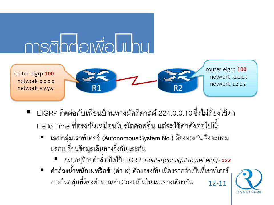 05/04/60 การติดต่อเพื่อนบ้าน. router eigrp 100. network x.x.x.x. network z.z.z.z. router eigrp 100.
