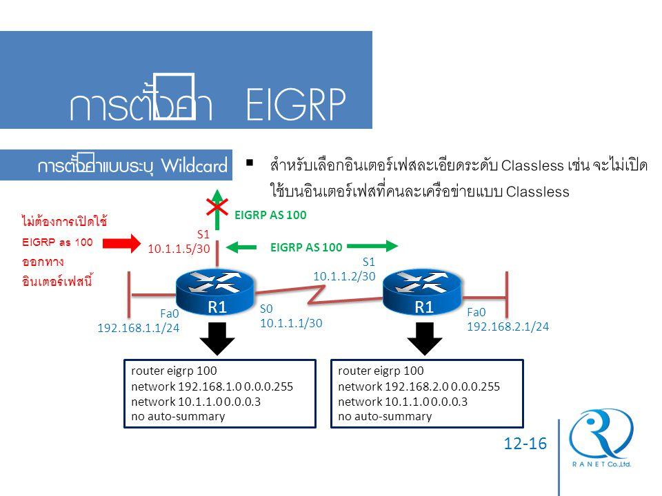 การตั้งค่า EIGRP การตั้งค่าแบบระบุ Wildcard
