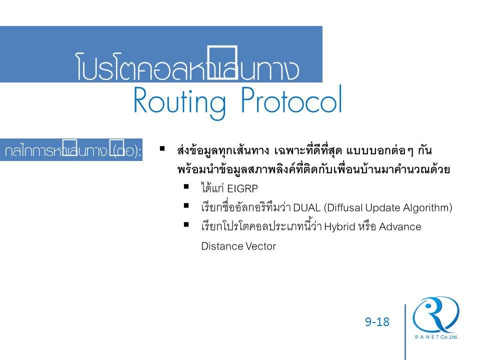 Routing Protocol โปรโตคอลหาเส้นทาง กลไกการหาเส้นทาง (ต่อ):