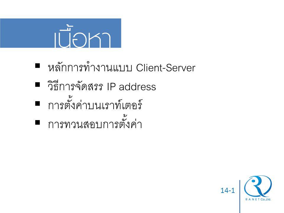 หลักการทำงานแบบ Client-Server วิธีการจัดสรร IP address