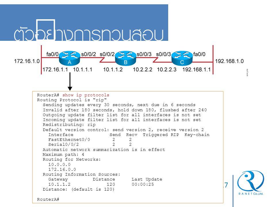 ตัวอย่างการทวนสอบ 10-17 05/04/60 RouterA# show ip protocols