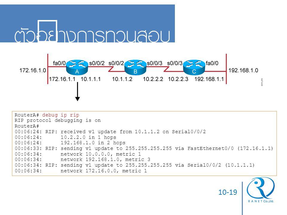 ตัวอย่างการทวนสอบ 10-19 RouterA# debug ip rip