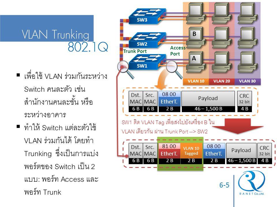 VLAN 10 VLAN 20. VLAN 30. Access Port. Trunk Port. SW1. SW2. SW3. Dst.MAC. 6 B. Src. MAC.