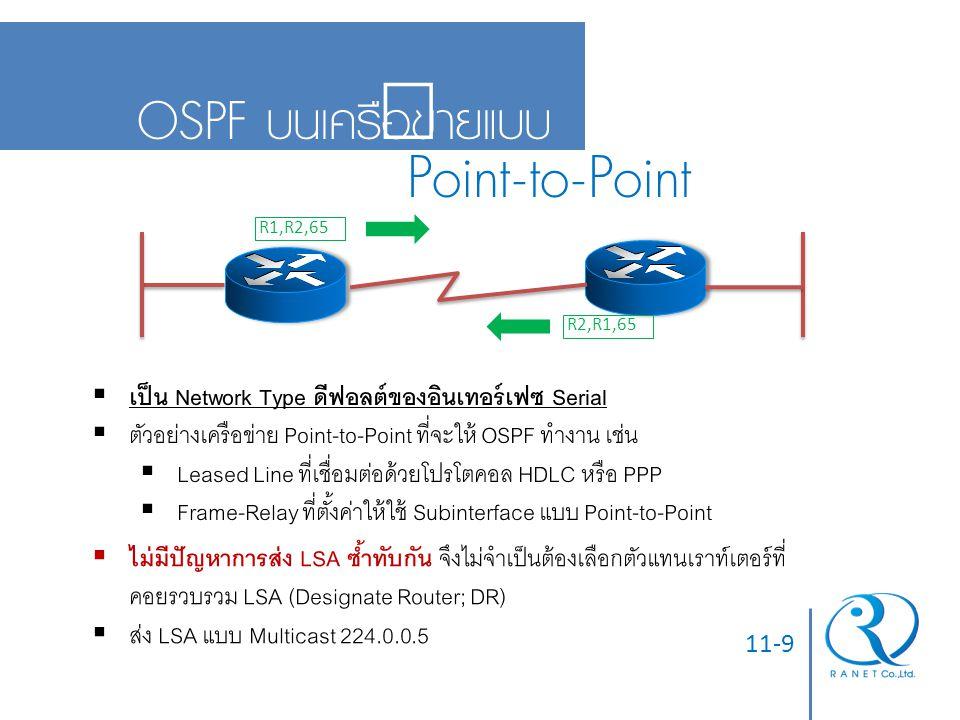 Point-to-Point OSPF บนเครือข่ายแบบ