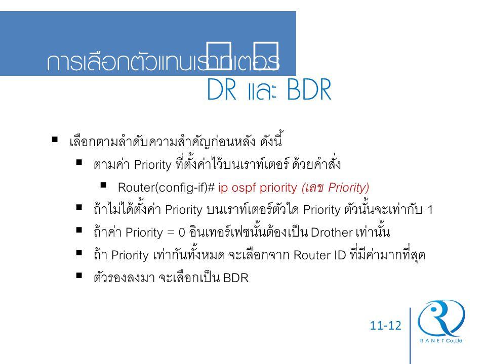 DR และ BDR การเลือกตัวแทนเราท์เตอร์