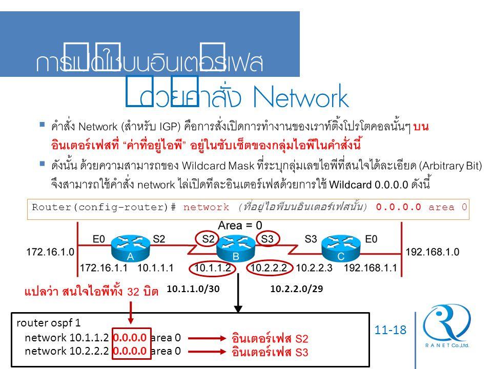 ด้วยคำสั่ง Network การเปิดใช้บนอินเตอร์เฟส