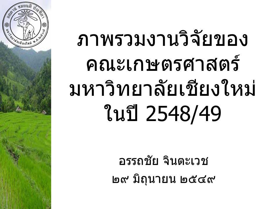 ภาพรวมงานวิจัยของคณะเกษตรศาสตร์ มหาวิทยาลัยเชียงใหม่ ในปี 2548/49