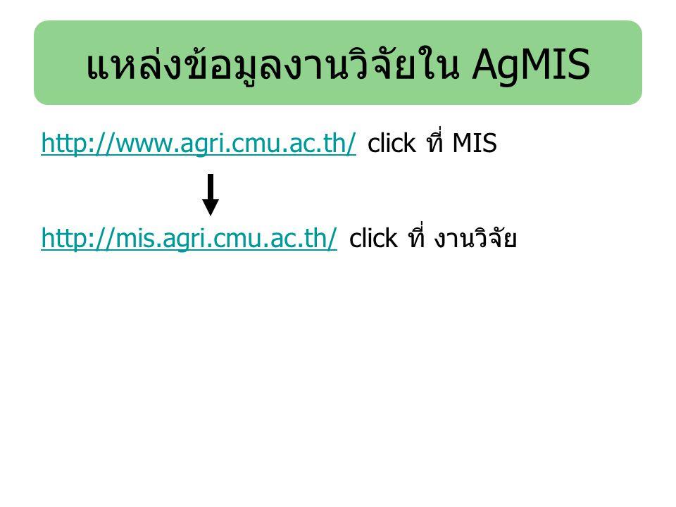 แหล่งข้อมูลงานวิจัยใน AgMIS